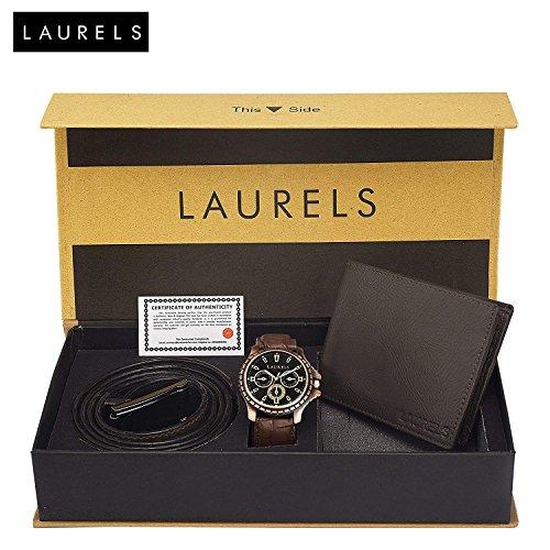 Laurels Black Men's Wallet With Watch & Belt - Combo Pack (C