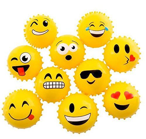 4'' EMOTICON KNOBBY BALL-YELLOW (100/cs), Case of 2 by DollarItemDirect