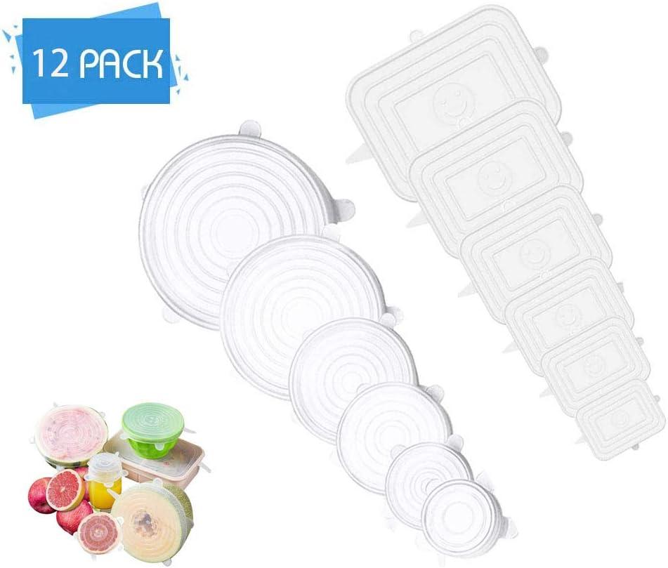 canettes et fruits Couvercle en silicone adapt/és pour les bols transparent, 12 pi/èces la coque en silicone est et les /étuis en silicone de diff/érentes tailles sont s/ûrs sains et r/éutilisables