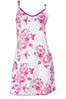 RocketWear Serenity Etched Floral Cream Cotton Knit Chemise/Nightgown