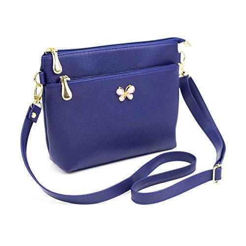 Espeedy Mujeres Lindas de Las Muchachas Bowknot Pequeño Bolso Bolso de Cuero de la PU Bolso de Hombro Messenger Crossbody Bolsos azul