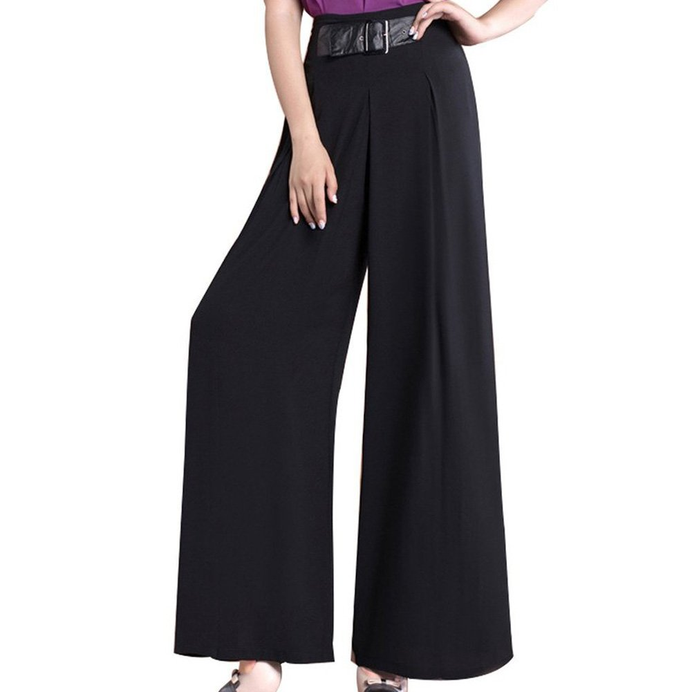 FACE N FACE Women's Chiffon High Waist Wide Leg Long Lounge Pants Medium Black