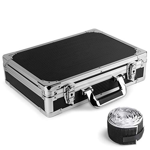 Vangoa Ghost Fire Sturdy Locking Aluminum Guitar Effect Pedal Case Locking with Aluminum Edge, Foam Padded Interior and Pedal Mounting Tape Fastener (15 x 10.8 x 3.74 ()