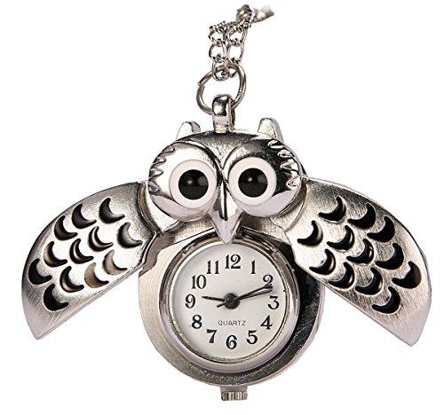 REATR Pocket Watch Alloy Cute Owl Pendant Vintage Quartz Watch with Gift Chain Quartz Silver Pendant Watch