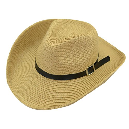 Spbamboo Floppy Foldable Man Unisex Belt Straw Beach Sun Summer Hat Wide Brim