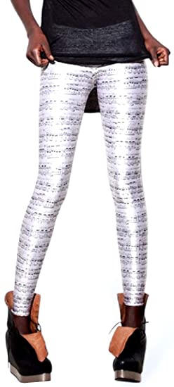 1a56f6bedd0011 Lucky Girl LA - Musical Notes Milk Silk Leggings (One Size (S/M), Multi) at  Amazon Women's Clothing store: