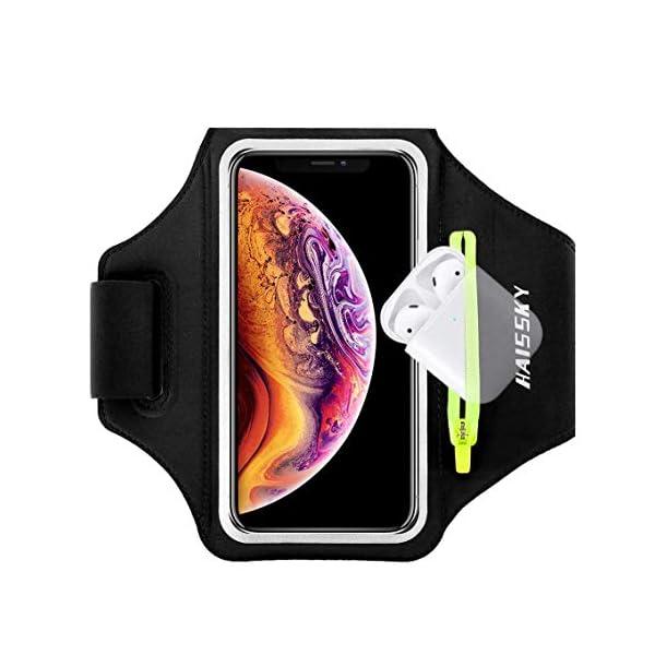 Brassard de Sports avec Airpods Poche Zippée, pour iPhone 11/11 Pro/X/XR/XS/8/7/6, Samsung Galaxy A 50s/A 30s/S10/S10…