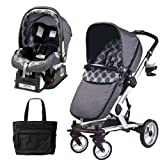 Peg Perego 2011 Skate Stroller Pram System with Car Seats and Fashionable Diaper Bag - Pois Grey