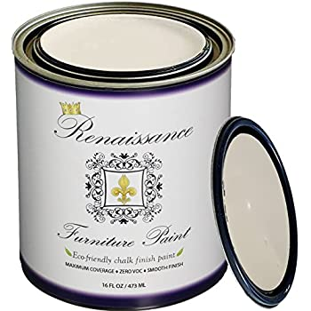 Renaissance Chalk Furniture Paint - Non Toxic, Eco-Friendly, Superior Coverage (16 oz (Pint), Ivory Tower 02 - Antique White)