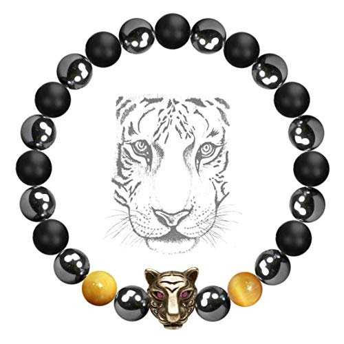 Karseer Viking Tiger Anxiety Bracelet, Magnetic Hematite Black Onyx Gold Tiger Eye Natural Crystals Healing Stones Energy Balance Gemstone Beaded Bracelet, Yoga Meditation Prayer Protection (Stones Gold Magnetic Bracelet)