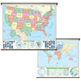 United States / World Map - Pull Down Roller Map with Wall Mount
