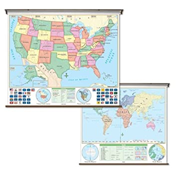 Amazoncom United States World Map Pull Down Roller Map With - World map of united states