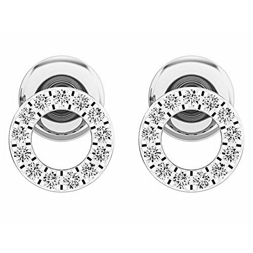 Dazzlingrock Collection 0.10 Carat (ctw) 10K Round White Diamond Ladies Circle Shape Stud Earrings 1/3 CT, White ()