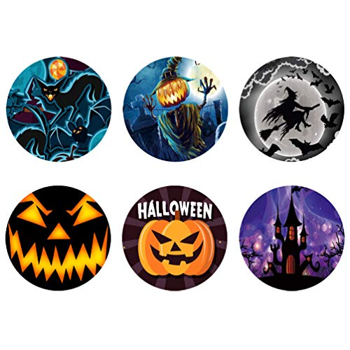 Coloranimal Halloween Drink Coasters Glasses Cup Placement Set of 6, Funny Cat Pumpkin Witch Castle Printed Modern Non Slip Coaster Prevent Furniture from Dirty & -