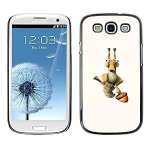CASECO - Samsung Galaxy S3 - Funny Squirrel & Nut - Delgado Negro Plástico caso cubierta Shell Armor Funda Case Cover - Ardilla divertida y Tuerca