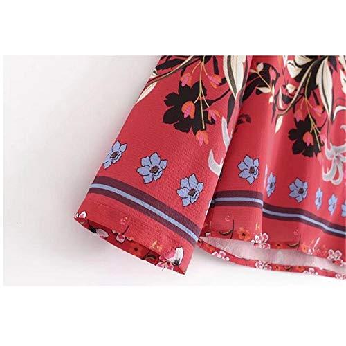 nbsp;Manica Intaglio Lunga Kimono Stampa Rossa nbsp;Donnaetnica Color Photo nbsp; Con Collo Vintage Pigiama Meaeo Femme Blusa nbsp; Ampia Stile Camicia 7wWfEPIq