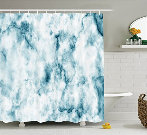 Apartment Decor Shower Curtain by Ambesonne, Fluffy Cloud Skyline Like Marble Motif with Grunge Features Art Image, Polyester Fabric Bathroom Decor Set with Hooks, 70 Inches, (Like Marble)