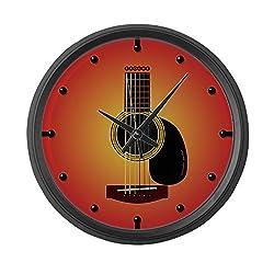 CafePress Acoustic Guitar Cherry Sunburst Large 17 Round Wall Clock, Unique Decorative Clock