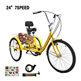 SURPCOS Adult Tricycle Cruise Bike Full Size 3 Wheeled Trike Bicycle with Wire Shopping Basket (Yellow, 7-Speed 24')