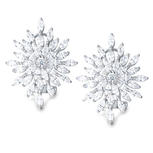 Carleen Sterling Silver Snowflake Earrings Cubic Zirconia CZ Stud Earrings for Women