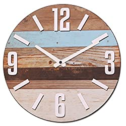 NIKKY HOME Wood Round Decorative Silent Analog Wall Clock 12 x 12
