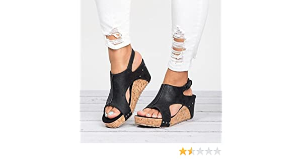 43e82e0df5783 Amazon.com   Sinwo Women Fashion Round Toe Breathable Rivet Beach Sandals  Boho Casual Wedges Shoes   Sports   Outdoors