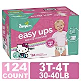 : Pampers Easy Ups Training Pants Pull On Disposable Diapers for Girls, Size 5 (3T-4T), 124 Count, ONE Month Supply