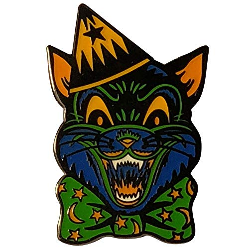 Leopard Cat Pin - Retro Crazy Cat Creepy Ghoulsville Monster Mask Enamel Pin