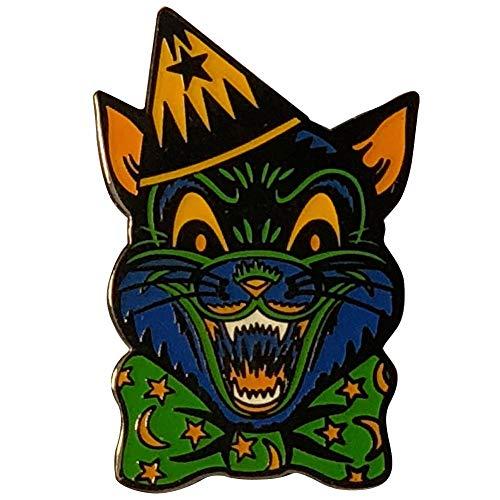 Retro Crazy Cat Creepy Ghoulsville Monster Mask Enamel Pin