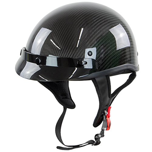 Outlaw T71-Carbon Glossy Carbon-Fiber Ultra-Light Motorcycle Helmet - Medium