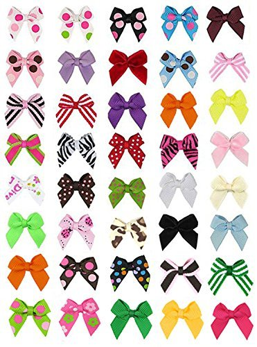 HipGirl 40pc Ribbon Applique Embellishment for Crafts, DIY Hair Bow Clips, Christmas Cards, Scrapbooks, 1