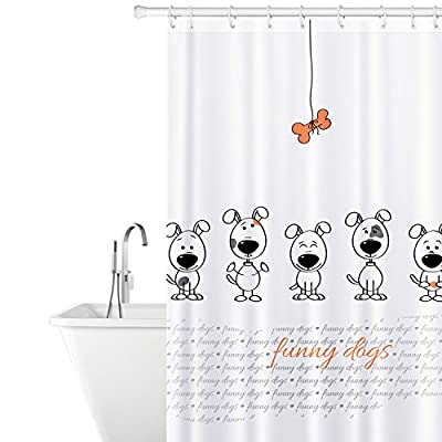 Tatkraft Funny Dogs Fabric Shower Curtain with 12 Rings 100% Waterproof 180X180 cm
