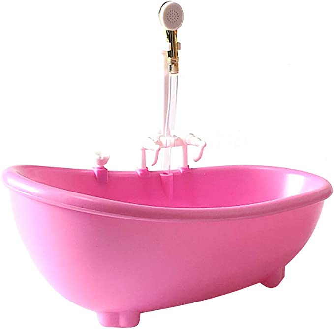 Toyvian Bathtub With Working Sprayer for Barbies® (Pink)