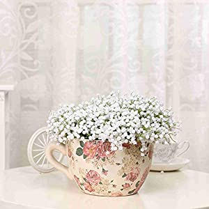 Zereff Ornamental vases Artificial Flowers Single Branch Baby's Breath Artificial Flowers Fake Flower for Home Wedding Decoration Shooting Props 2