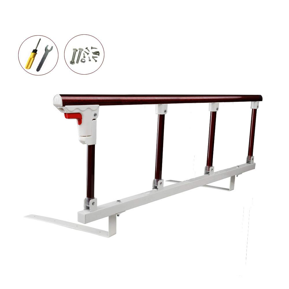 Bed Safety Rails for Adults Elderly Kids Seniors Guard Folding Bed Assist Handle Railing Bumper bar (1pcs,Dark red)
