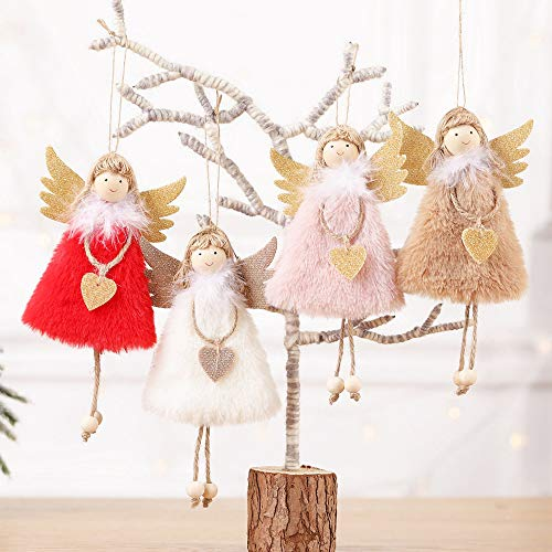 BRKURLEG 4PCS Christmas Doll Hanging Angel, Cute Tags Plush Doll Christmas Tree Door Wall Hanging Decoration House Ornaments for Holiday Party Garden Decoration