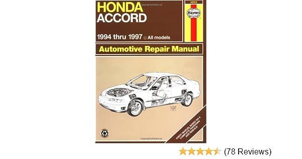 honda accord 94 97 haynes repair manuals haynes 9781563923234