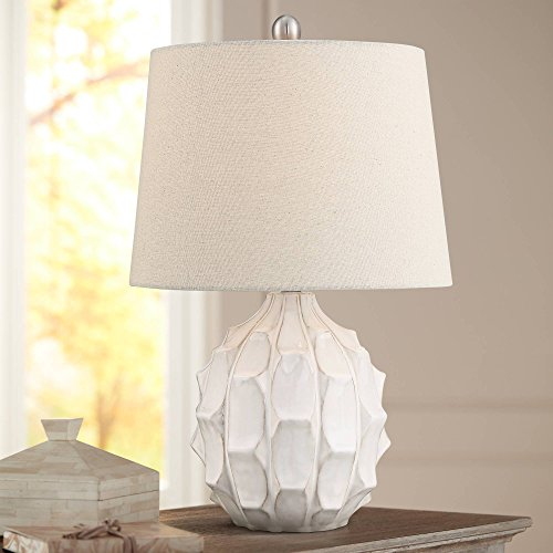 Ellen Mid Century Modern Accent Table Lamp White Ceramic Linen Tapered Drum Shade for Living Room Bedroom Bedside Nightstand Office Family – 360 Lighting