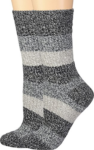 Columbia Women's Micropoly Striped 2 Pack Crew, Black, Shoe Size(4-10)/Sock Size(9-11)