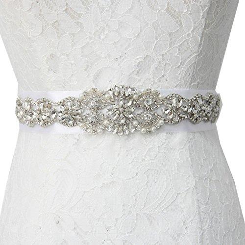 Crystal Rhinestone Floral Applique Silver