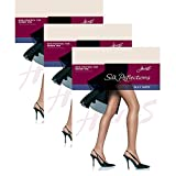 Hanes Women`s Set of 3 Silk Reflections Non-Control Top Sheer Toe Pantyhose AB, Pearl