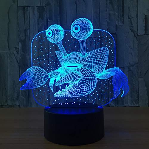 LQZN Creative Crab 3D Table Lamp Led 7 Color Changing Nightlight for Children Bedroom Decor USB Sleep Lighting Kids Brithday Toy Gift