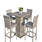 STS Patio Furniture High Top Table Set Lawn Garden Yard All Weather Wicker Garden Furniture Set & E book By Easy2Find