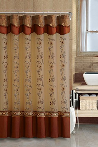 Two-Layered Embroidered Fabric Shower Curtain with Attached Valance (Cinnamon)