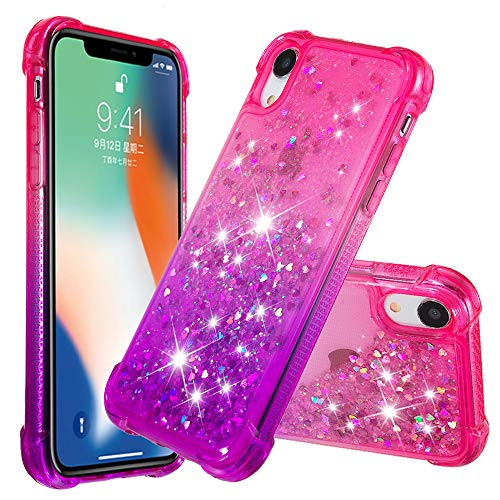 MerKuyom [Crystal Floating Liquid] Case for Apple iPhone XR 6.1-inch, Soft TPU Transparent Flowing 3D Bling Sparkling Glitter Case Cover + Stylus (Gradient Pink Purple, for iPhone XR)