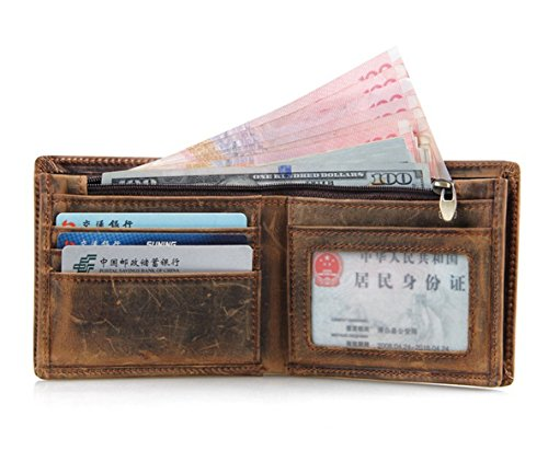 HRS Genuine Leather Wallet Bifold Distressed Wallets for Men Italian Wallet Handmade with RFID Blocking (brown) by HRS (Image #4)