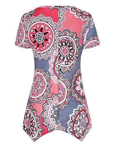 Courtes Imprim Orange Col Shirt T Irrgulire Grande Tops Taille Manches Femmes Casual Rond 6wq50g5Cx