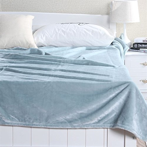 Znzbzt Flannel blankets quilts dorm students extra thick blankets winter coral fleece bed pure color blanket,180cmx200cm, light green 500g thick