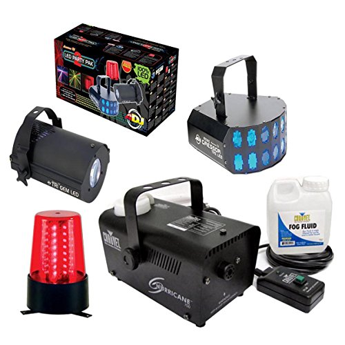 [American DJ LED Party Pak LED Effects + Chauvet DJ Fog Machine w/ Fluid & Remote] (Small Fog Machines)
