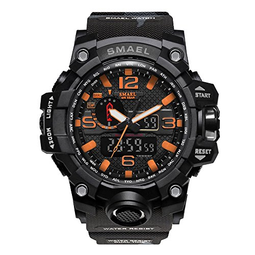 SMAEL Men's Military Sport Analog Digtal Wrist Watch Soft Resin Band Water Resistant with Dual Quartz Movement (Camouflage/Black)